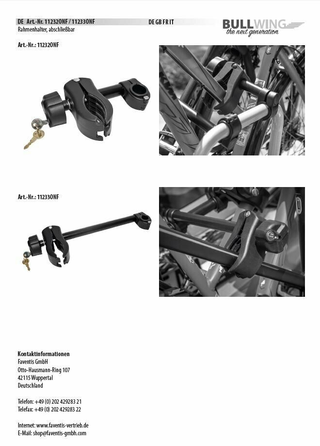 Bullwing Rahmenhalter abschließbar kurz Ø 2,5-3 cm